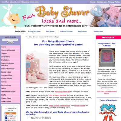 Fun baby shower custom web design