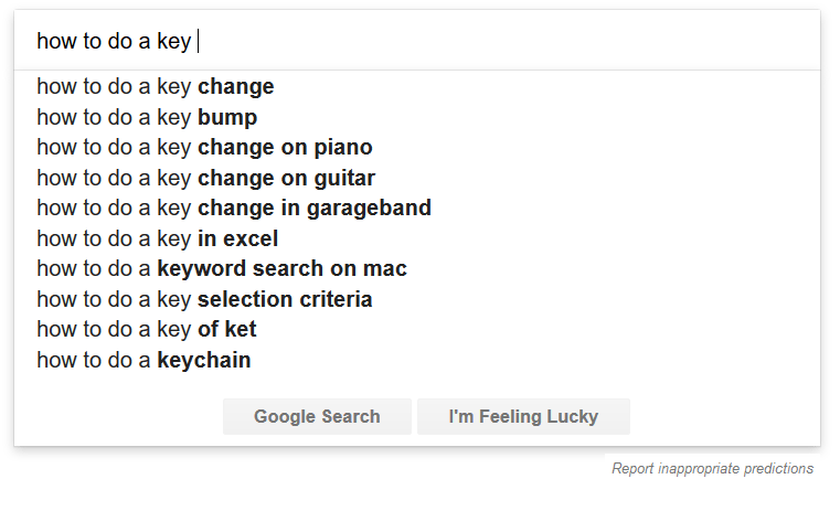 google suggestion research
