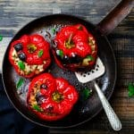 Spicy Rice and Black Bean Stuffed Bell Peppers