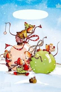 """Пакет подарочный полиэтиленовый """"Мышки на шаре"""""""