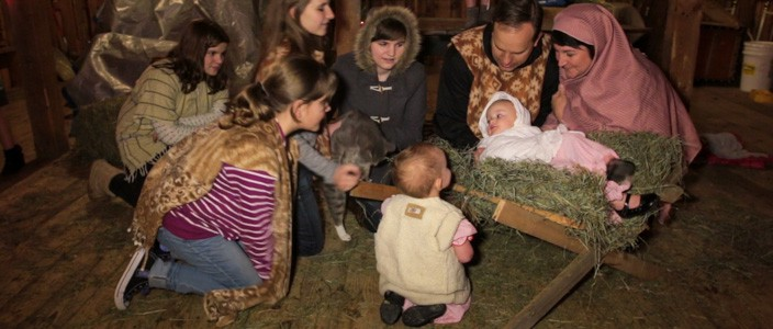 Family re-enactment of the nativity