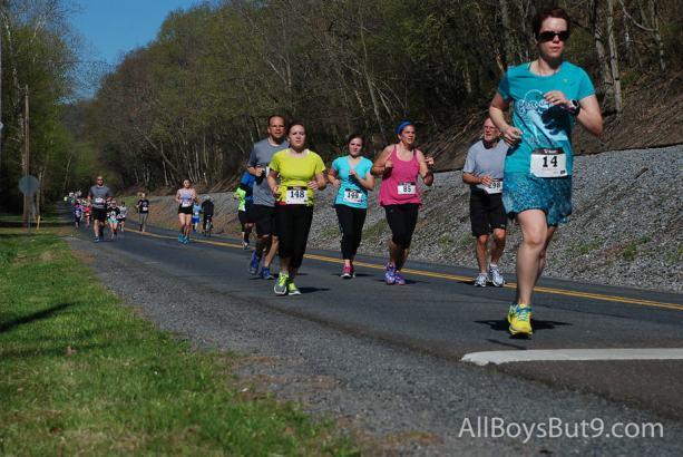 Dad, Emily, and Anna running the half-marathon this spring
