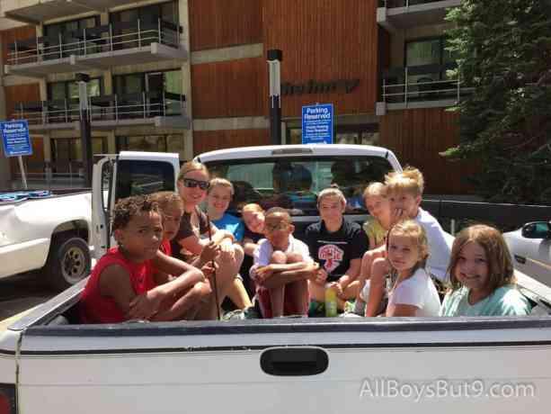grandchildren piled in Grandpa's truck