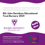 Rhodes University John Davidson Educational Trust Bursary