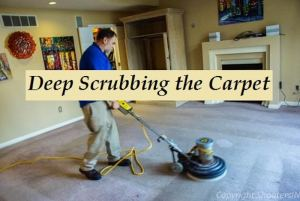"""scrubbing the carpet to lift pile and break up Stains. """" a must for carpet cleaning"""""""