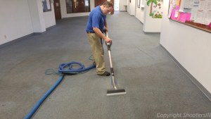 carpet clean hall in church very bad shape had to Deep Scrub it too