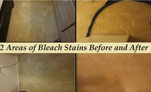 Bleach stains before and after we fixed them