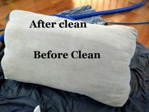 Pillow Upholstery clean before after results