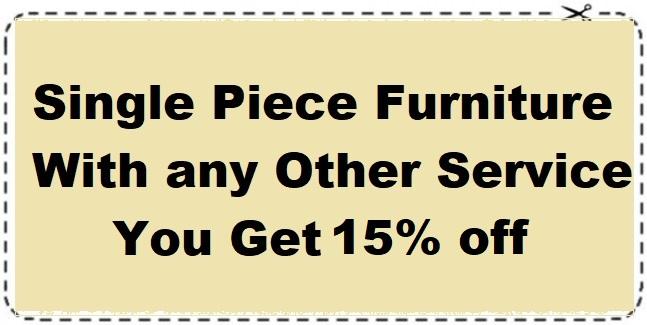 Single piece furniture 15% off