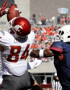 Nov tucson az usa washington state cougars wide receiver river cracraft tries to catch the ball under pressure from arizona wildcats also wsu football depth chart for rutgers yields many intriguing rh allcougdup