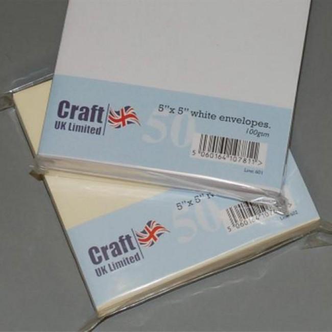 5x5 envelopes white 50