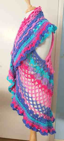 Side view of Crochet Boho vest
