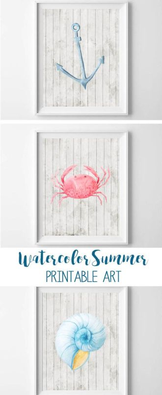 watercolor beach printables