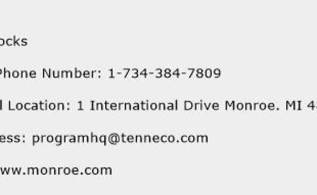 Monroe Shocks Number Monroe Shocks Customer Service