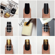 elegant nail art black and gold