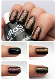 black and bronze nail art - alldaychic