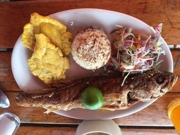 fried fish with plantains and coconut rice