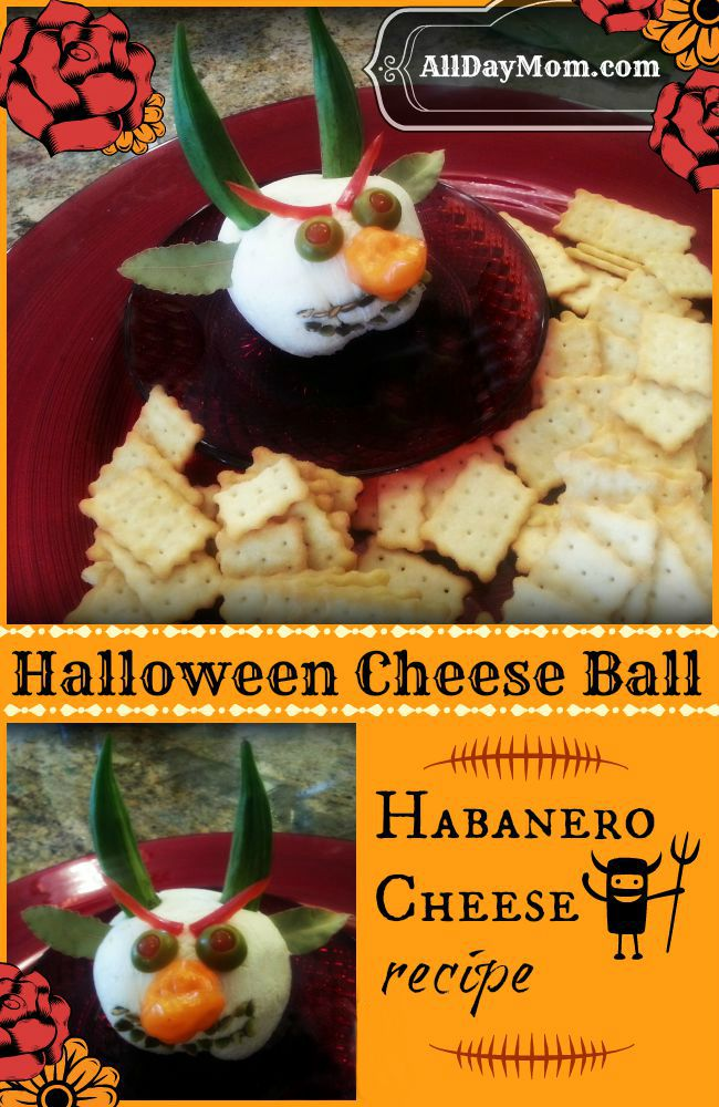 Get the Halloween Cheese Ball Devil How to and Habanero Cheese recipe at All Day Mom!