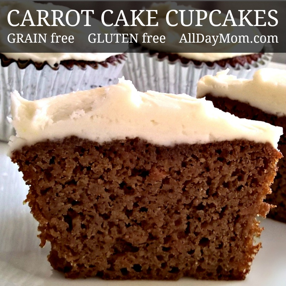 Fluffy Grain Free Carrot Cake Cupcakes with Homemade Cream Cheese Frosting Recipe
