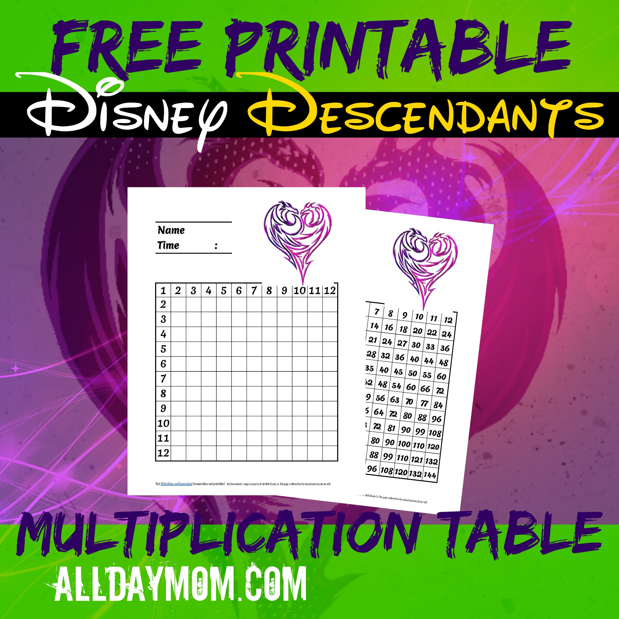 Free Printable Disney Math Worksheets Disney Descendants Multiplication Table And Guide