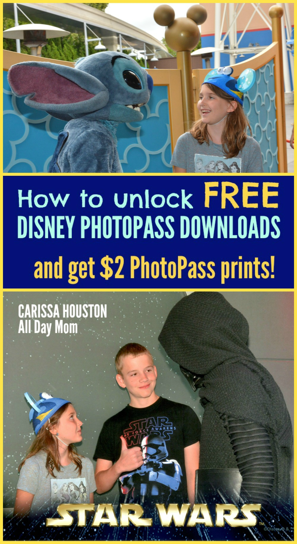 Disneyland freebies Free Disney PhotoPass downloads with Disney Visa! Disney Character Meet & Greet at Disneyland with Stitch and Kylo Ren!