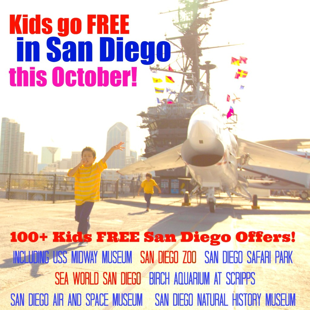 Kids go free to over 100 San Diego attractions this October! 6 living history attractions in San Diego for kids! Things to do with kids in San Diego! USS Midway Museum, San Diego Air and Space Museum, Cabrillo National Monument, and more!