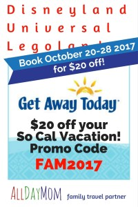 Discount Disneyland tickets! Universal Studios and Legoland Too! Get an extra $20 off your So Cal Vacation package - stacks with other discounts! Disneyland on a Budget!