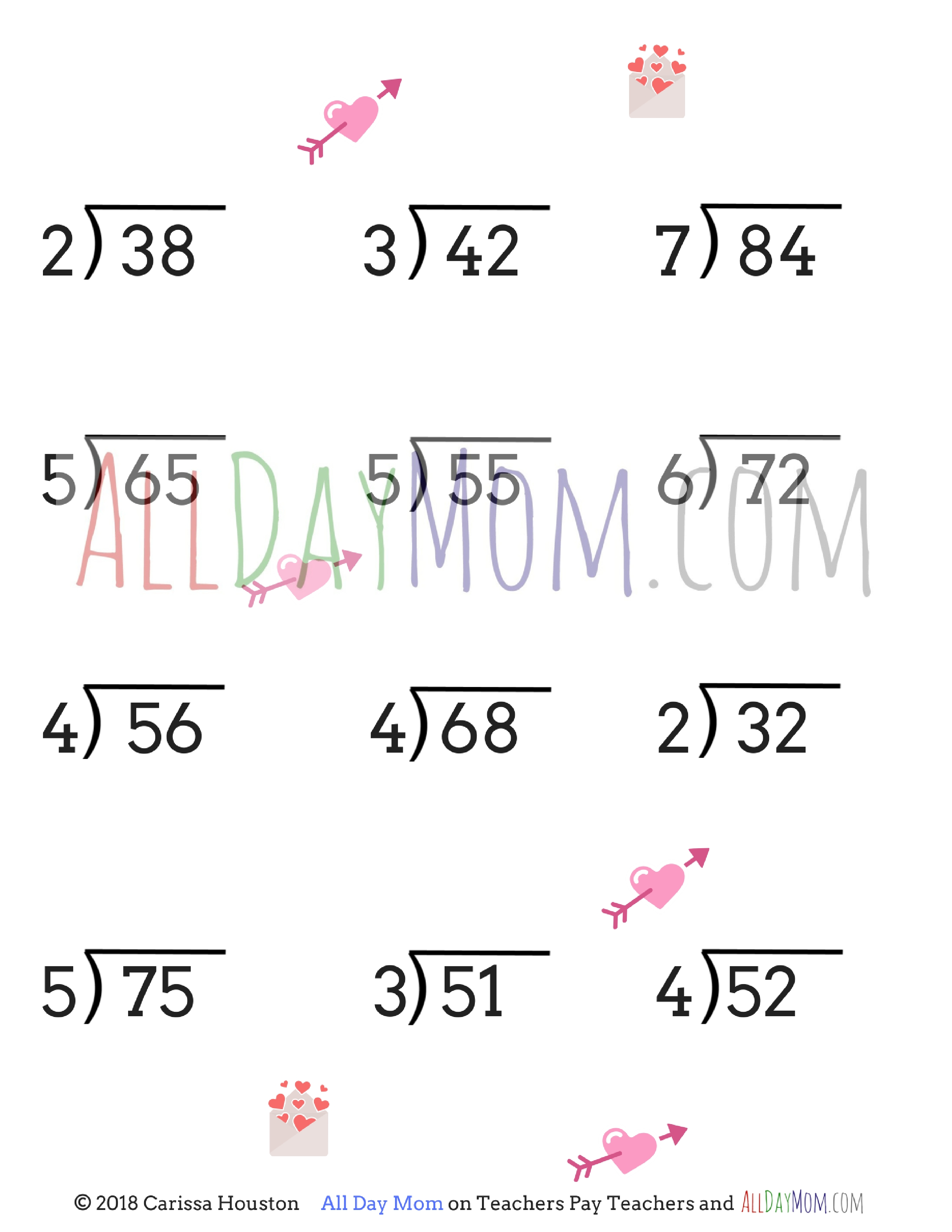 photograph about All About Mom Printable identified as Totally free printable Valentines Working day math worksheets!