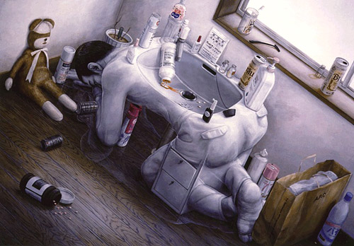 Человек в матрице большого города. Картины Tetsuya Ishida