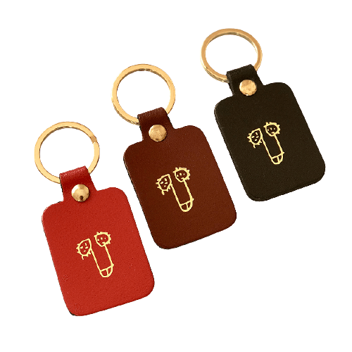 Leather keychain with a dick