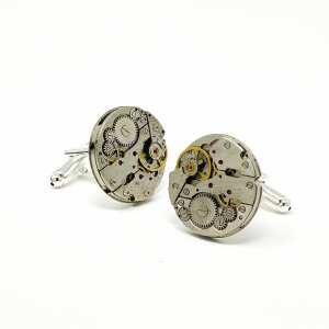 Cufflinks made from antique watch parts
