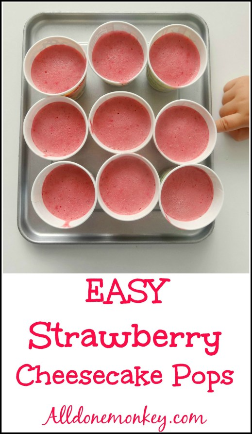 Easy Strawberry Cheesecake Pops - Alldonemonkey.com