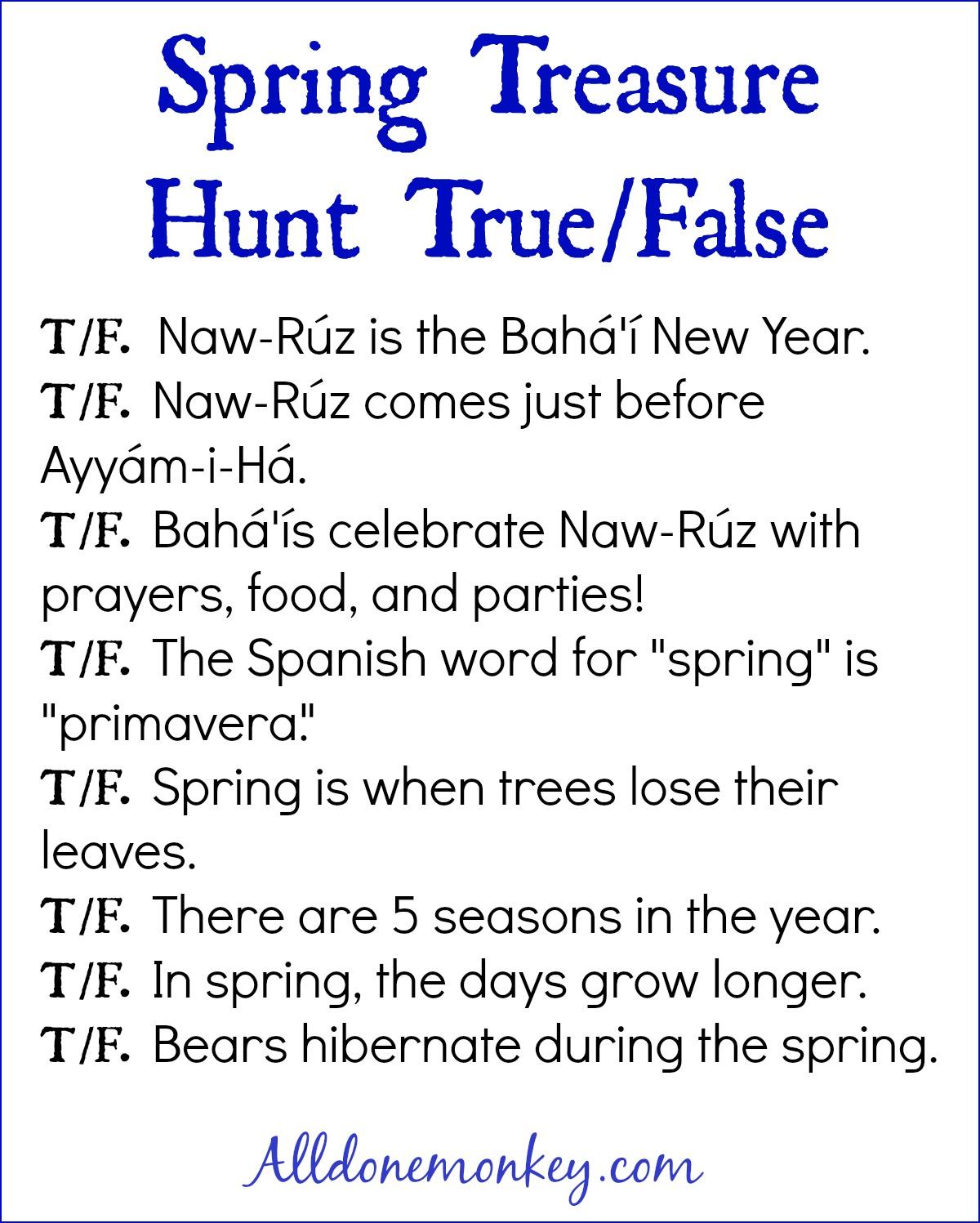 Spring Treasure Hunt With Printables Naw Ruz