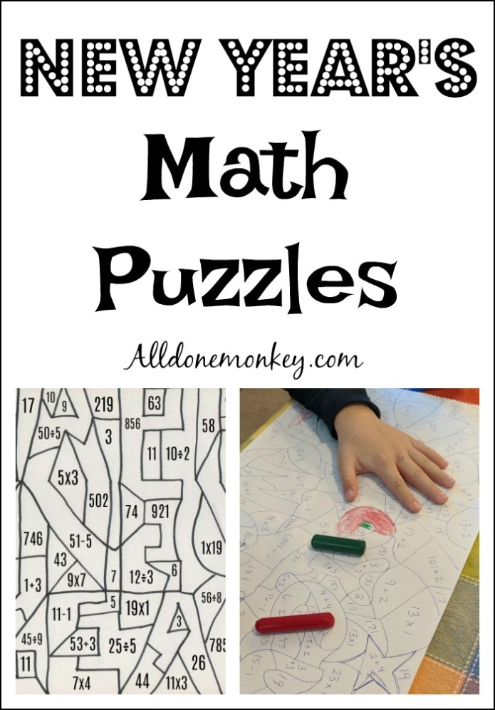 New Year's Math Puzzles for Winter Break Fun | Alldonemonkey.com