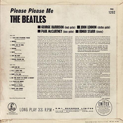 beatles please please me album back
