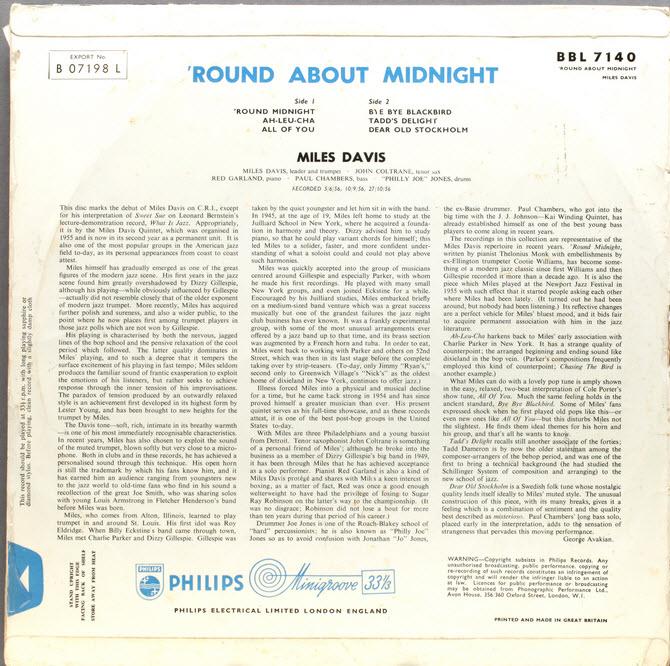 miles davis album round about midnight back