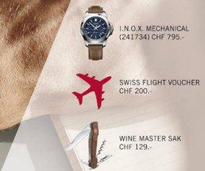 Fluggutschein, Herren-Uhr oder Taschenmesser gewinnen
