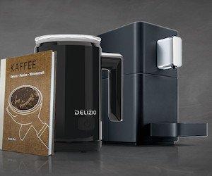 Barista-Set mit Kaffeemaschine, Milchaufschäumer und Kaffee gewinnen