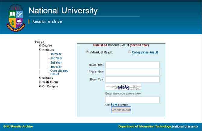 Honours 2nd Year Result 2020 (National University)