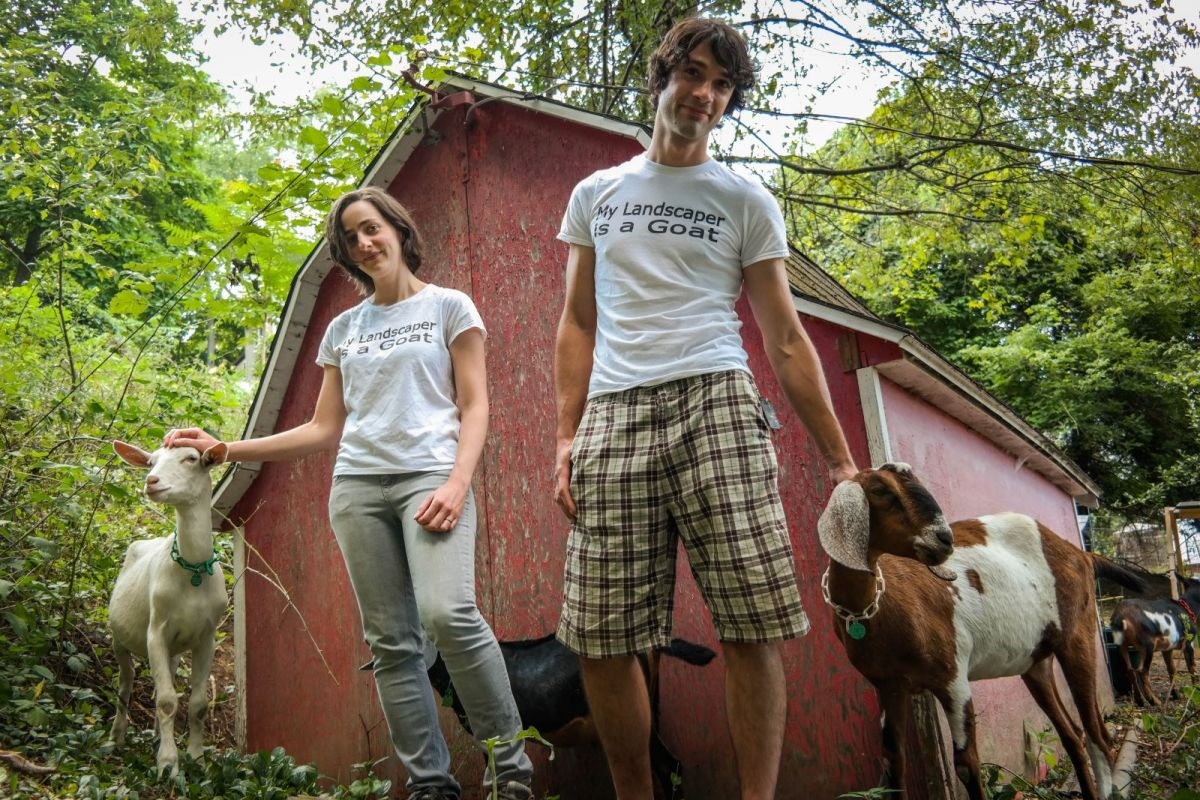Carrie Pavlik and Doug Placais of Steel City Grazers, a goat landscaping company in Pittsburgh. Photo: Lou Blouin
