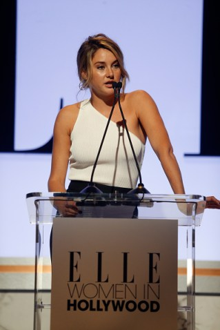 LOS ANGELES, CA - OCTOBER 19: Actress Shailene Woodley speaks onstage during the 22nd Annual ELLE Women in Hollywood Awards presented by Calvin Klein Collection, L'Oréal Paris, and David Yurman at the Four Seasons Los Angeles at Beverly Hills on October 19, 2015 in Beverly Hills, California. (Photo by Jeff Vespa/Getty Images for ELLE)