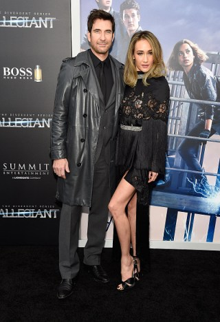 "NEW YORK, NY - MARCH 14: Dylan McDermott and Maggie Q attend ""Allegiant"" New York premiere at AMC Loews Lincoln Square 13 theater on March 14, 2016 in New York City. (Photo by Kevin Mazur/WireImage)"
