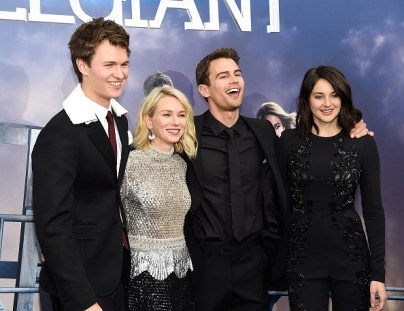 "NEW YORK, NY - MARCH 14: Ansel Elgort, Naomi Watts, Theo James and Shailene Woodley attend ""Allegiant"" New York premiere at AMC Loews Lincoln Square 13 theater on March 14, 2016 in New York City. (Photo by Kevin Mazur/WireImage)"