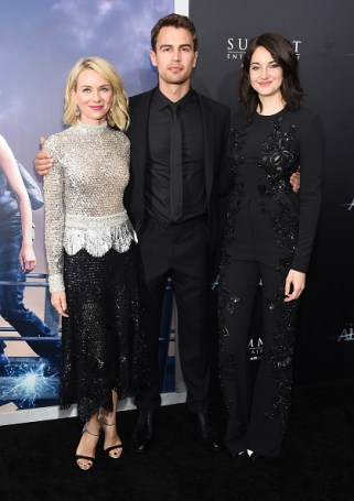 "NEW YORK, NEW YORK - MARCH 14: (L-R) Actors Naomi Watts, Theo James, and Shailene Woodley attend the New York premiere of ""Allegiant"" at the AMC Lincoln Square Theater on March 14, 2016 in New York City. (Photo by Jamie McCarthy/Getty Images)"
