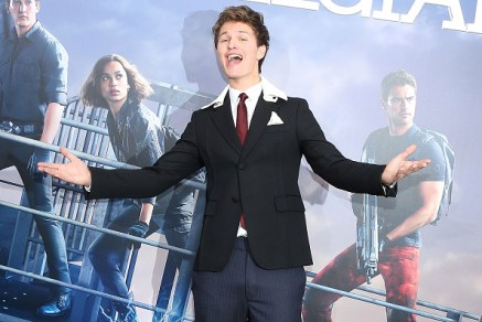 "NEW YORK, NY - MARCH 14: Ansel Elgort reacts to being wished a happy birthday at the ""Allegiant"" premiere at AMC Loews Lincoln Square 13 theater on March 14, 2016 in New York City. (Photo by Taylor Hill/FilmMagic)"