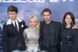 "NEW YORK, NY - MARCH 14: (L-R) Actors Ansel Elgort, Naomi Watts, Theo James, and Shailene Woodley attend the ""Allegiant"" New York Premiere at AMC Loews Lincoln Square 13 theater on March 14, 2016 in New York City. (Photo by Mark Sagliocco/Getty Images)"