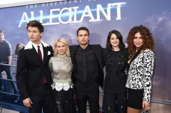 "NEW YORK, NEW YORK - MARCH 14: (L-R) Actors Ansel Elgort, Naomi Watts, Theo James, Shailene Woodley, and Nadia Hilker attend the New York premiere of ""Allegiant"" at the AMC Lincoln Square Theater on March 14, 2016 in New York City. (Photo by Jamie McCarthy/Getty Images)"