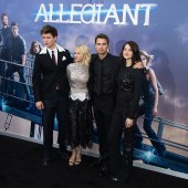 "NEW YORK, NY - MARCH 14: (L-R) Actors Ansel Elgort, Naomi Watts, Theo James and Shailene Woodley attend the ""Allegiant"" New York premiere at AMC Lincoln Square Theater on March 14, 2016 in New York City. (Photo by Michael Stewart/Getty Images)"