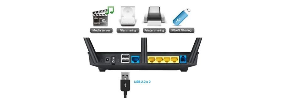 ASUS DSL-N55U (600Mb/s a/b/g/n, Aneks A/B, 2xUSB 3G/4G