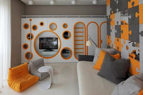awesome wohnzimmer grau orange images home design ideas